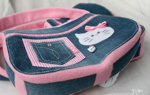 Модная сумка для девочки из джинсов